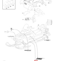 Аксессуары и дополнительное оборудование  - 516003488 Наклейка SUV правая для снегоходов Ski-Doo Skandic SUV 550F/600 200..., 0