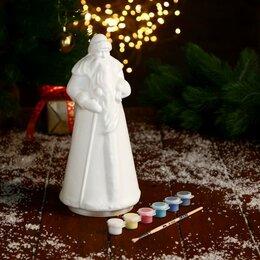 Новогодние фигурки и сувениры - Дед Мороз пластик с красками и кистью 25х10,5 см, белый, 0