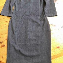Платья - Платье-футляр стрейч, серое, из натуральной ткани 46-48 р. , 0