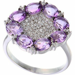 Кольца и перстни - Element47 кольцо серебро вес 3,43 вставка фианит, аметист арт. 743905, 0