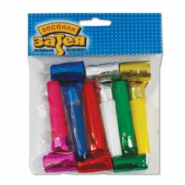Развивающие игрушки - Праздничный язык-гудок из фольги (игрушка-свистулька), набор 6 штук, в упаковке , 0