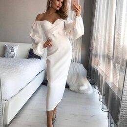Платья - Белое платье миди с объемными рукавами, 0