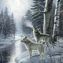 Дизайн, изготовление и реставрация товаров - Пара волков в зимнем лесу Артикул : GX 33442, 0