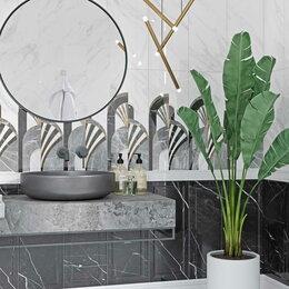 Керамическая плитка - Керамическая плитка черно-белый мрамор, 0