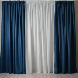Шторы - Шторы синие блэкаут под лен, 0
