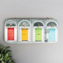 """Настенные ключницы и шкафчики - Ключница массив """"Разноцветные двери"""" 11,5х26 см, 0"""