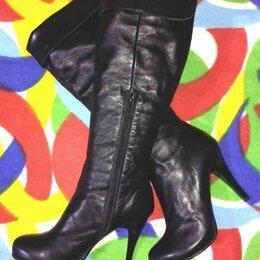 Сапоги - Демисезонные сапоги-ботфорты на каблуке, р.36, 0