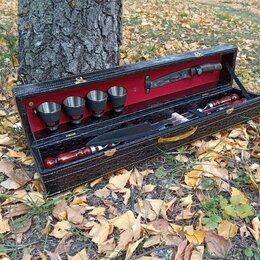 Шампуры - Подарочный набор шампуров с деревянными ручками в чемодане, 0