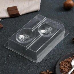 Формы для льда и десертов - Форма для шоколада «Яйцо с цветами на палочке», 14×9 см, 0