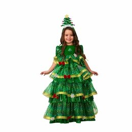 Карнавальные и театральные костюмы - Карнавальный костюм «Ёлочка-Царица», платье, ободок, размер 28, рост 110 см, 0