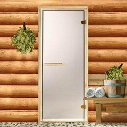 Двери - Дверь для бани и сауны стеклянная «Бронза», размер коробка 190 × 70 см, 6 мм,..., 0