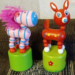 Игровые наборы и фигурки - Деревянная игрушка жираф дергунчик, 0