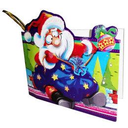Скрапбукинг - Открытка с новым годом Дед Мороз с мешком 8х7,5см, 0