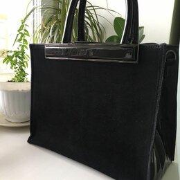 Сумки - Новая стильная черная комбинированная сумка.  Лак, замша. , 0