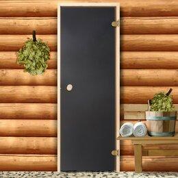 Двери - Дверь для бани и сауны стеклянная, размер коробки 190×70см, 6мм, бронза, 0