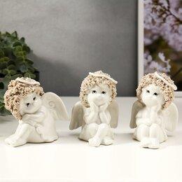 """Новогодние фигурки и сувениры - Сувенир керамика """"Кудрявые ангелочки"""" набор 3 шт 9,5х7,8х7,5 см, 0"""
