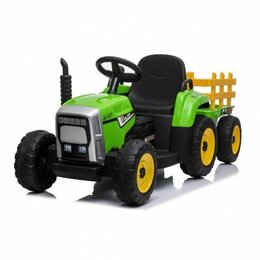 Электромобили - Детский электромобиль трактор TR 77, 50364 с прицепом зеленый (Р, 0