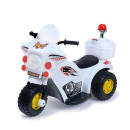 Электромобили - Детский электромобиль «Мотоцикл шерифа», цвет белый, 0