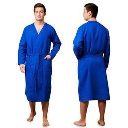 Домашняя одежда - Текстильный городок Халат вафельный запашной мужской р-р 52, цв.Василек, 160 ..., 0