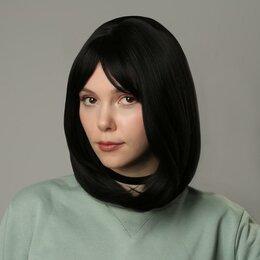 Аксессуары для волос - Queen fair Парик искусственный, с чёлкой, имитация кожи, 30 см, цвет чёрный, 0