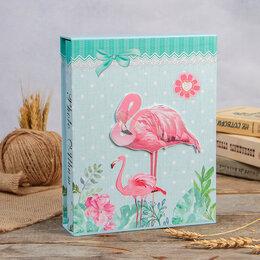 """Скрапбукинг - Фотоальбом магнитный 20 листов """"Фламинго в цветах"""" в коробке МИКС 26х20,5х5 см, 0"""