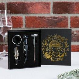 Штопоры и принадлежности для бутылок - Набор для вина в картонной коробке Wine tools, 14 х 16 см, 0
