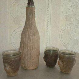 Этикетки, бутылки и пробки - Советская деревянная бутылка со стопкой, 0