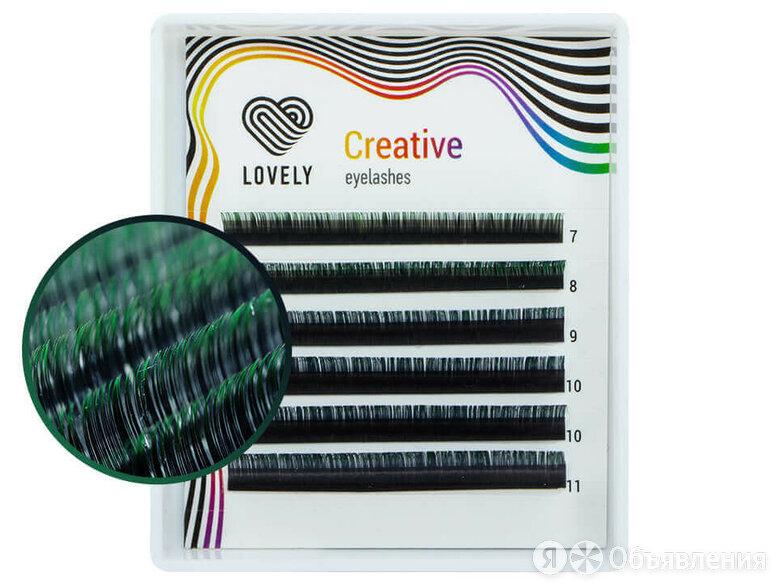 Ресницы двухтоновые зелёные LOVELY, микс, 6 лент (C+ 0,10 10-14mm) по цене 495₽ - Для глаз, фото 0