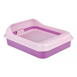 Туалеты и аксессуары  - Туалет 'Верный Друг' для кошек, с решёткой, 45 х 36 х 15 см, фиолетовый, 0
