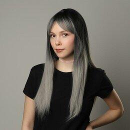 Аксессуары для волос - Queen fair Парик искусственный, с чёлкой, имитация кожи, 60 см, цвет чёрный/п..., 0