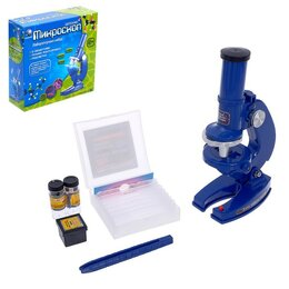 Детские микроскопы и телескопы - Микроскоп детский, увеличение 100х, 200х, 460х, цвет синий, 0