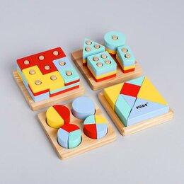 """Головоломки - УЦЕНКА Развивающий набор головоломок """" Монтессори"""" 5,5х29,5х25,5 см, 0"""