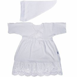 Крестильная одежда - Крестильный набор для девочки Папитто (цвет: белый, платье/косынка, размер 20..., 0