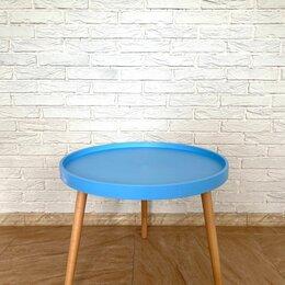 Столы и столики - Стол журнальный круглый пластик+дерево, синий, 0