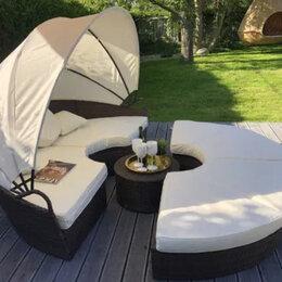 Лежаки и шезлонги - Кровать шезлонг круглая, садовый лежак из ротанга 210 см, 0