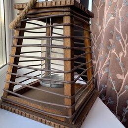 Подсвечники - Большой деревянный подсвечник фонарь, 0