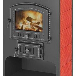 Камины и печи - Печь-камин Везувий ПК - 03 красный с плитой 12 кВт дверка 224, 0