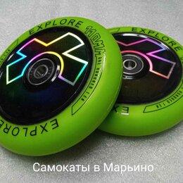 Аксессуары и запчасти - Колесо 110 мм для самоката трюкового, чёрно-зеленое, 0
