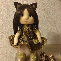 Рукоделие, поделки и сопутствующие товары - Текстильная кукла шоколадная девочка, 0