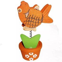 Визитницы и кредитницы - Деревянная визитница Рыба в горшке 4753, 0