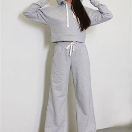 Спортивные костюмы - Женский серый спортивный костюм с брюками клёш/палаццо, 0