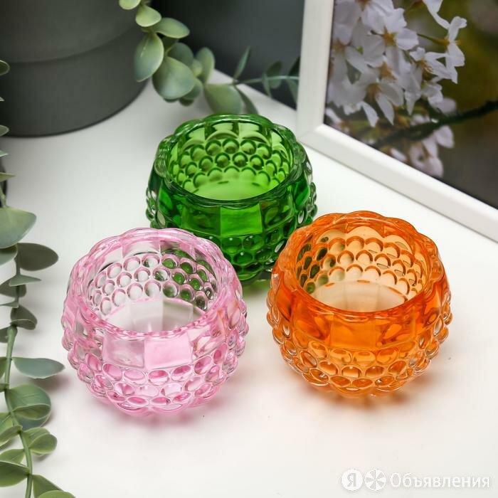 """Подсвечник стекло на 1 свечу """"Пузырьки"""" яркие цвета МИКС 6х7,3х7,3 см по цене 409₽ - Древесно-плитные материалы, фото 0"""