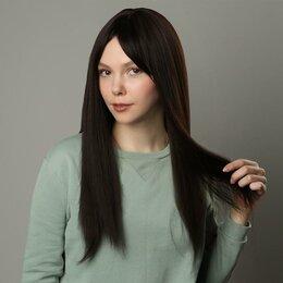 Аксессуары для волос - Queen fair Парик искусственный, с чёлкой, имитация кожи, 60 см, цвет каштановый, 0