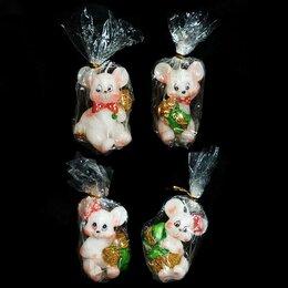 Декоративные свечи - Свеча Белая мышка с мешком монет 6см 1131 1/8, 0