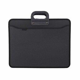 Рюкзаки, ранцы, сумки - Портфель 4 отд. А3 inФормат, с ручками, черный пластик, на молнии, 900мкм (10), 0