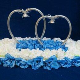 Свадебные украшения - Кольца на машину для свадьбы с голубыми цветами, 0