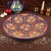 Ляган круглый Риштанская Керамика, 41см, кара калам, красный, микс по цене 2227₽ - Посуда, фото 1