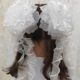 Украшения для девочек - Резинка 1шт бант белый большой с локонами, 0