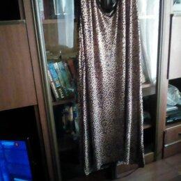 Платья - Трикотажное платье с люрексом впереди. По бокам разрезы., 0