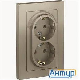 Электроустановочные изделия - Schneider-electric Atn000524 Atlasdesign РОЗЕТКА двойная с заземлением, 16А, ..., 0